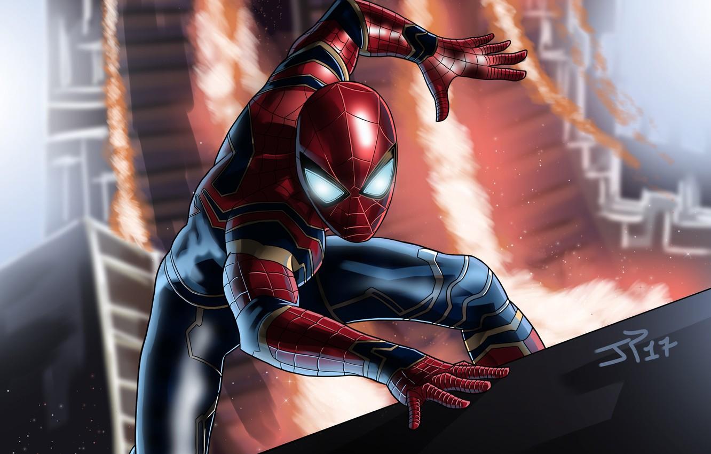 Photo wallpaper fiction, art, costume, superhero, comic, Spider-man, MARVEL, Spider-Man, Infinity War