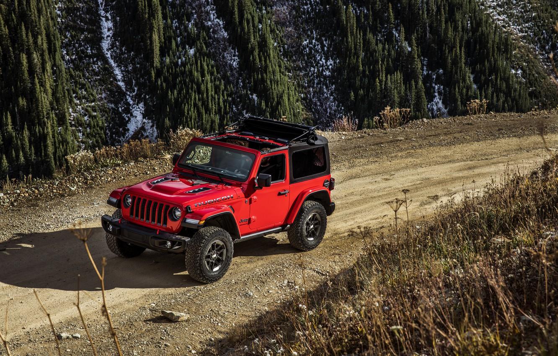 Photo wallpaper red, movement, primer, 2018, Jeep, Wrangler Rubicon