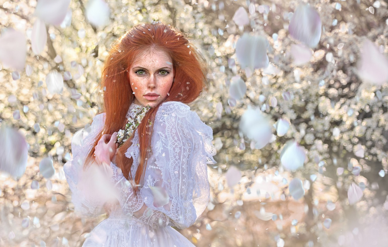 Photo wallpaper look, girl, face, petals, freckles, red, white dress, redhead, freckled, Tanya Markova