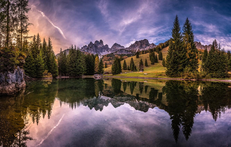 Photo wallpaper trees, mountains, lake, reflection, Austria, Alps, Austria, Alps, Filzmoos, Filzmoos