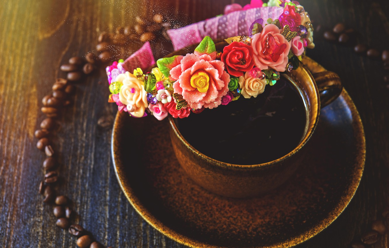 Photo wallpaper decoration, flowers, coffee, grain, Cup, drink, bezel