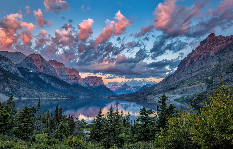Wallpaper Mountains Lake Island Montana Usa Saint Mary Lake