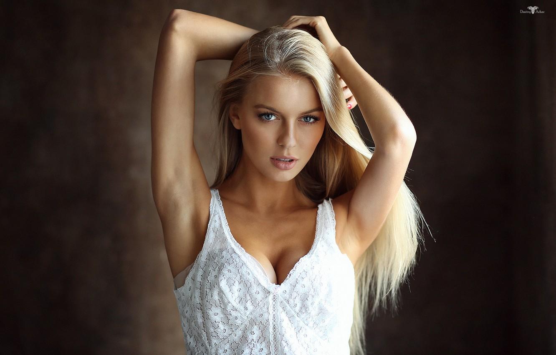 Photo wallpaper girl, cleavage, long hair, dress, breast, photo, photographer, blue eyes, model, beauty, lips, face, sensual, …