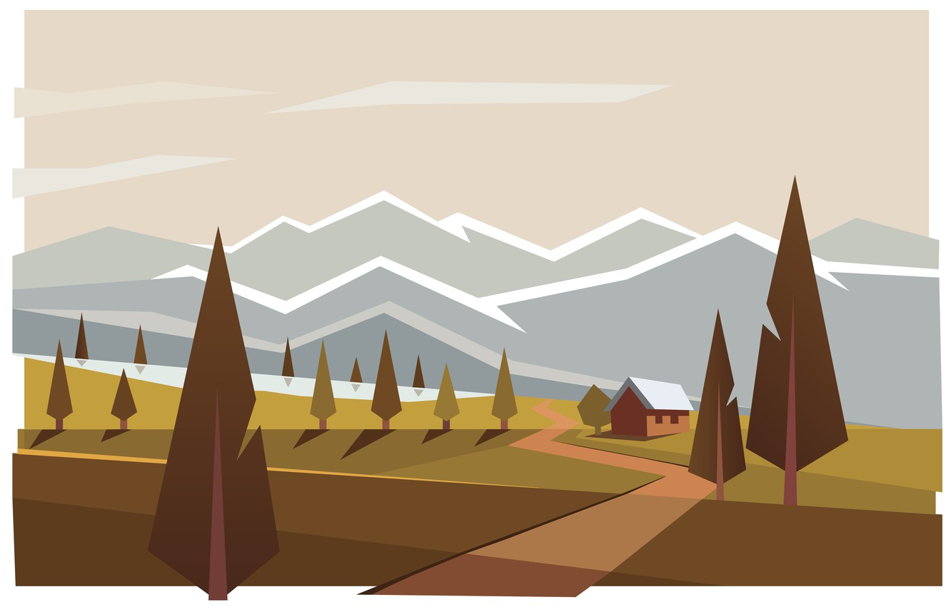 Photo wallpaper mountains, house, Forest, illustration