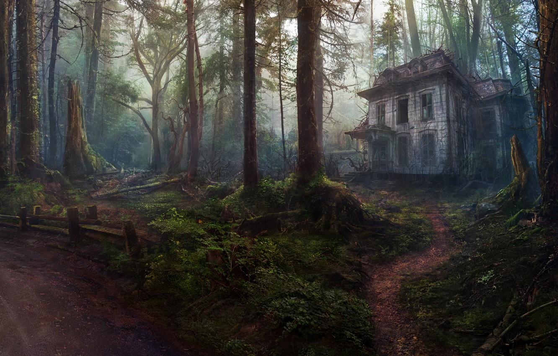 Photo wallpaper Trees, Forest, House, Art, Abandoned house, Concept Art, by Oleg Yolchiev, Forest house, Oleg Yolchiev