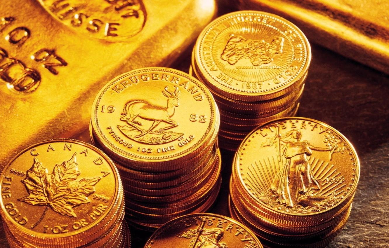 Photo wallpaper gold, coins, bars