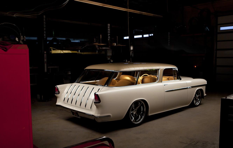Photo wallpaper Car, White, Chevy, Custom, Nomad
