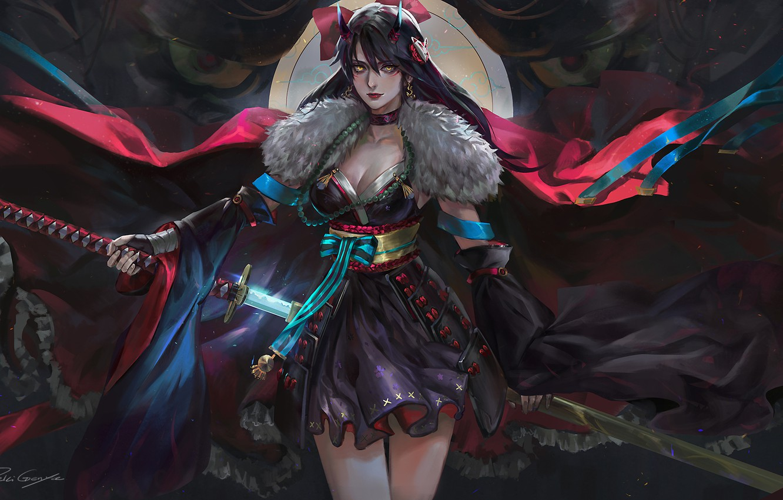 Photo wallpaper dark, demon, girl, sword, fantasy, cleavage, horns, armor, dress, weapon, katana, brunette, samurai, digital art, …