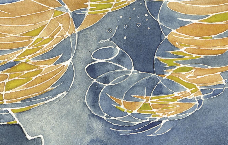 Photo wallpaper line, orange, abstraction, watercolor