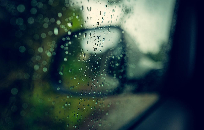 Photo wallpaper machine, drops, macro, rain, mirror, raindrops