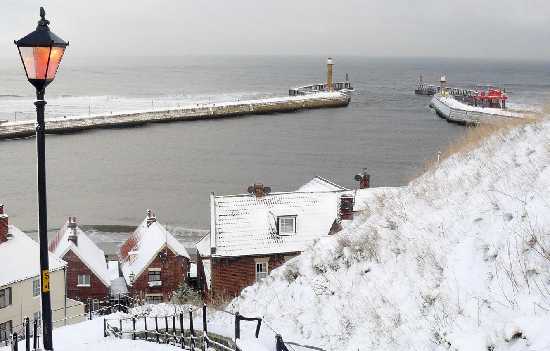 sea, snow, the city, street, England