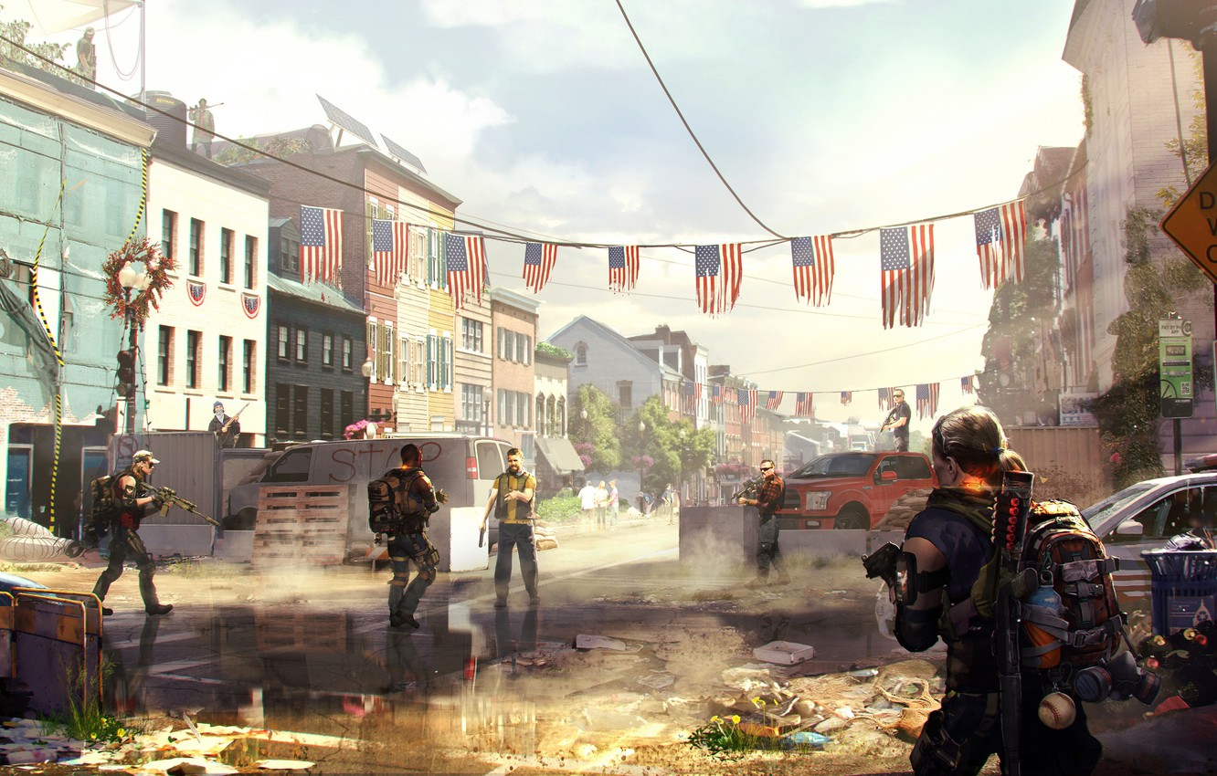 Photo wallpaper war, art, ubisoft, agents, Tom Clancy's The Division 2, The Division 2