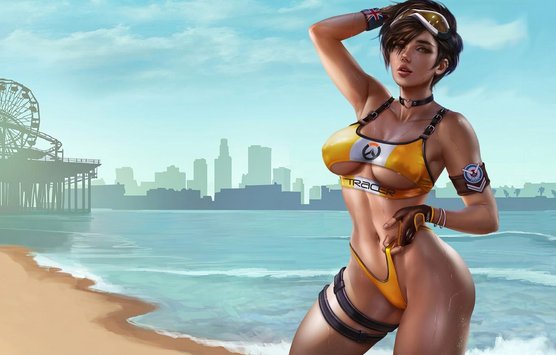 Photo wallpaper girl, game, anime, art, beautiful, digital art, cute, gta, bikini, tracer, overwatch