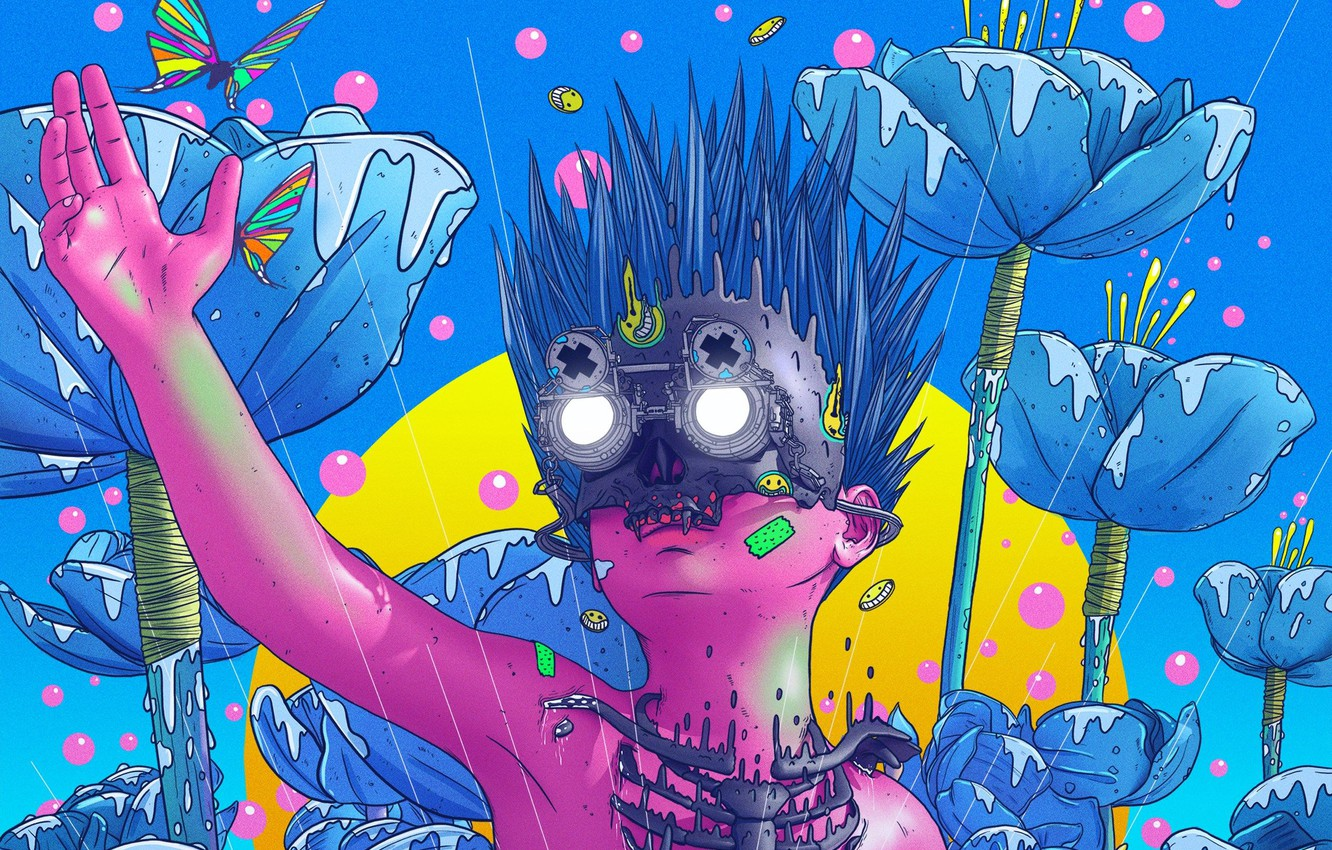 Photo wallpaper Flowers, Butterfly, Glasses, Face, Fantasy, Art, Fiction, Neon, Colors, Cyborg, Illustration, Concept Art, Insect, Face, …