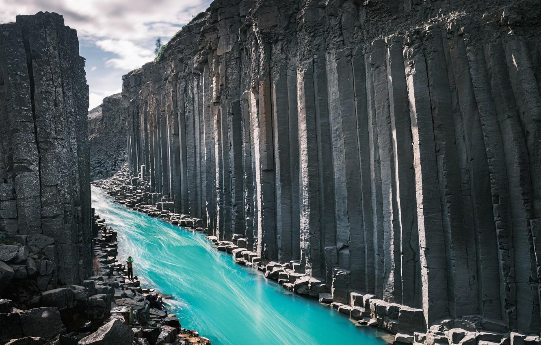 Photo wallpaper mountains, nature, river, Iceland, East, Norður-Hérað