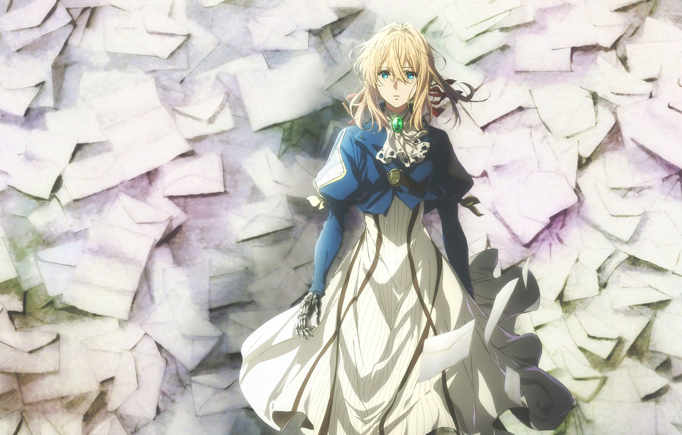 Photo wallpaper blue eyes, a lot, art, pigtail, brooch, letters, envelopes, iron hand, Violet Evergarden, Akiko Takase