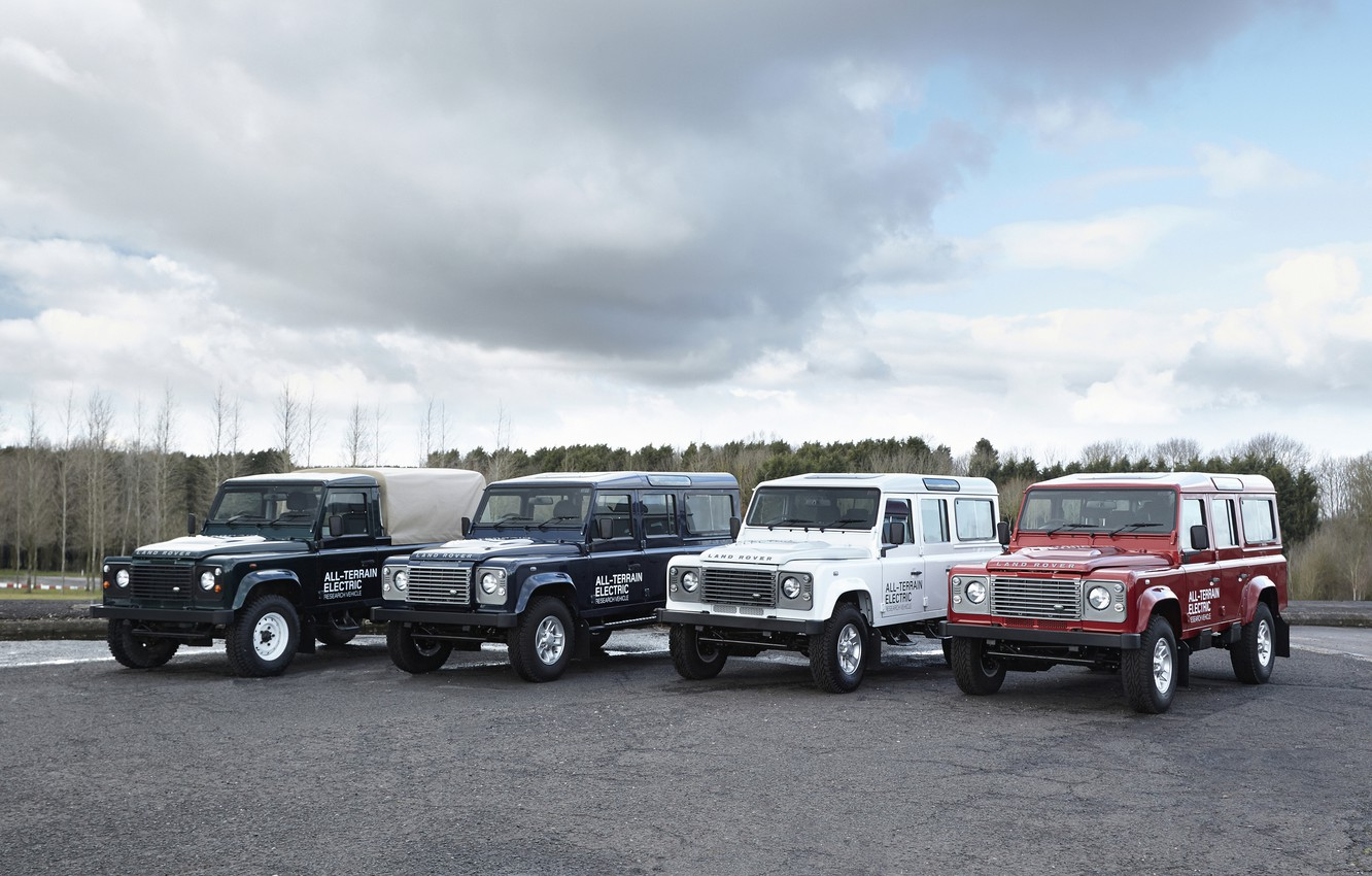 Photo wallpaper Parking, prototype, Land Rover, Defender, 2013, All-terrain Electric Research Vehicle