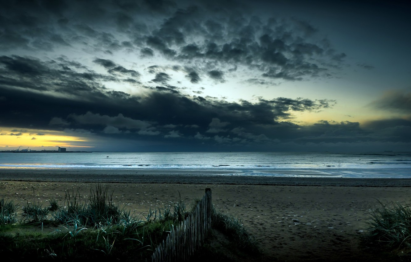 Photo wallpaper sea, night, shore