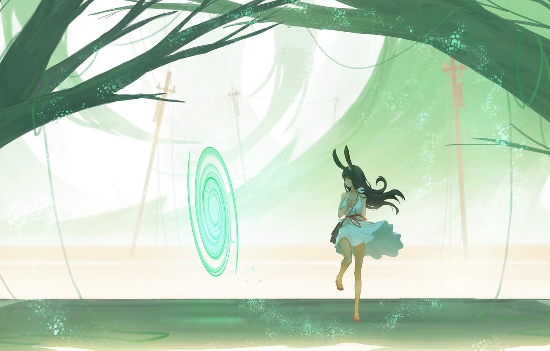 Photo wallpaper girl, trees, fiction, the portal, ears