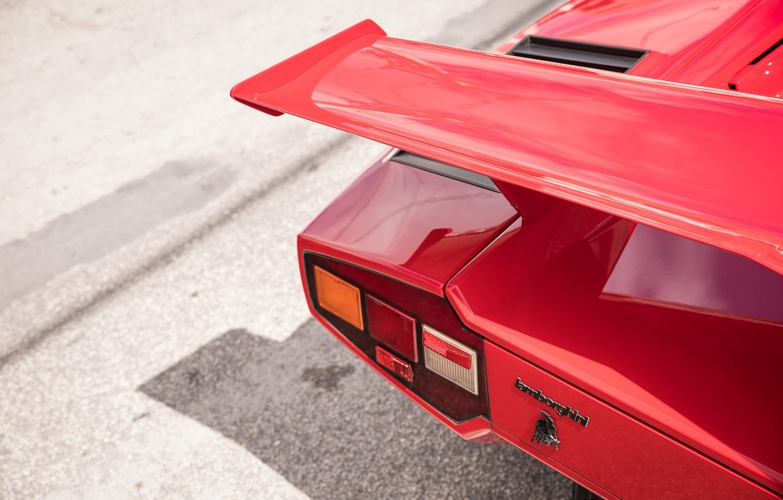 Photo wallpaper Red, Logo, Lamborghini Countach, Wing