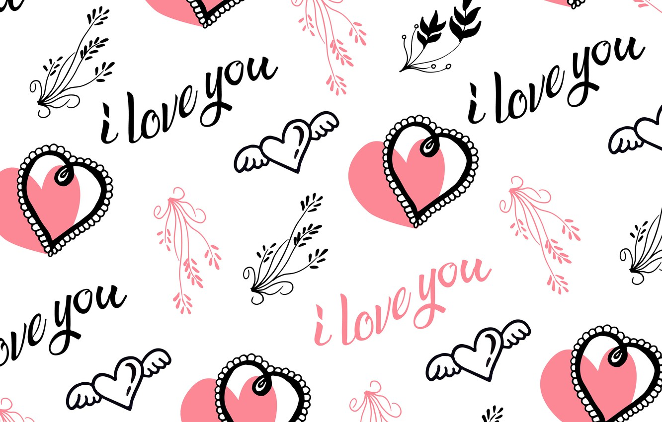 Photo wallpaper labels, Love, texture, white background, I love you, Vintage, Heart