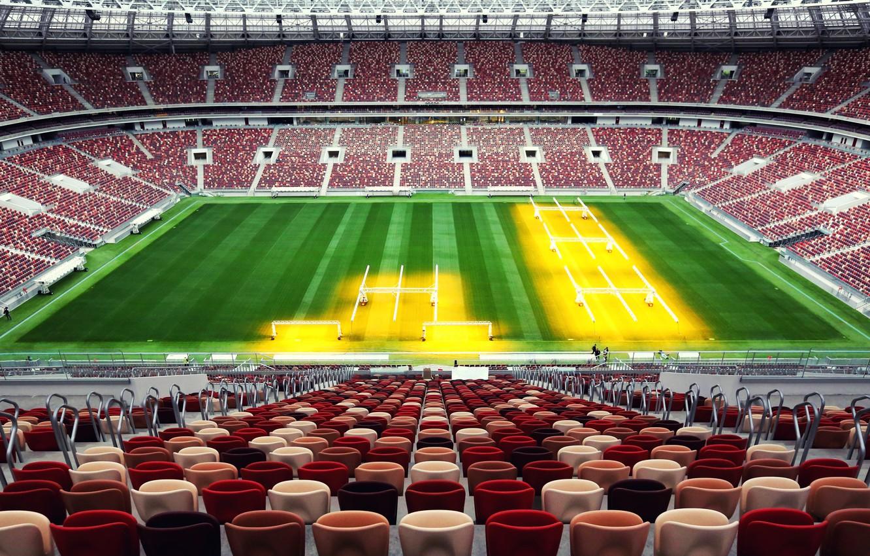 Photo wallpaper Sport, Football, Russia, Stadium, Luzhniki, Stadium, Lawn, Tribune, Luzhniki, Luzhniki Stadium, The Main Stadium, Stadium ...