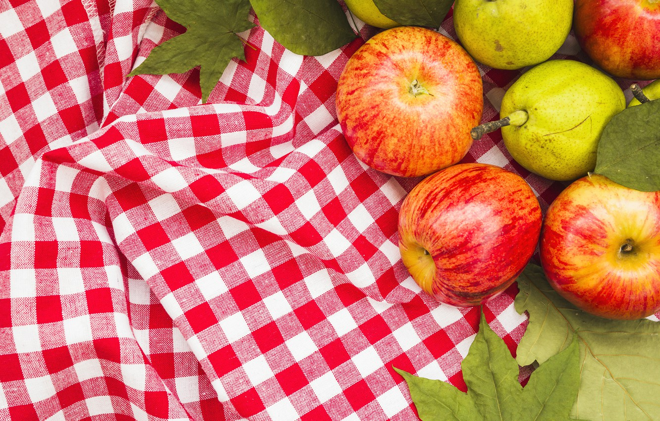 Photo wallpaper leaves, apples, harvest, tablecloth