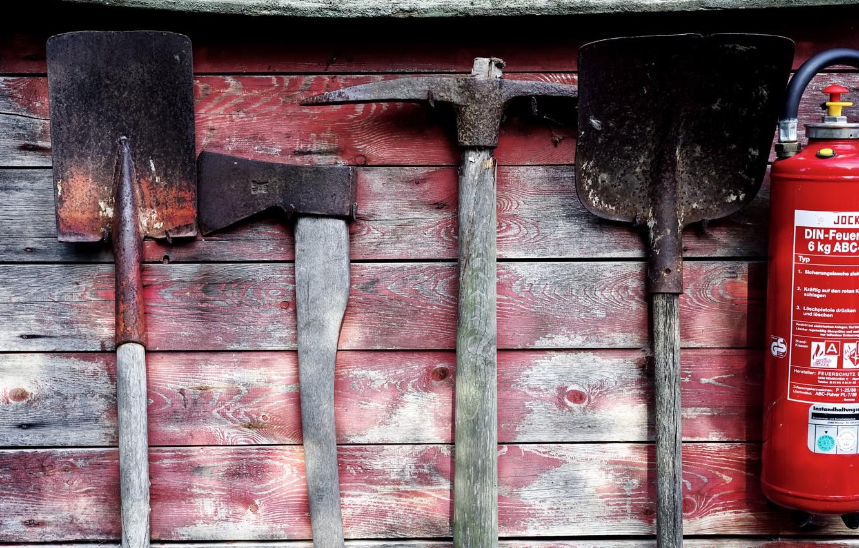 Photo wallpaper axe, shovel, a fire extinguisher, fire shield