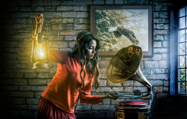 Photo wallpaper sexy, long hair, art, beautiful girl, candle