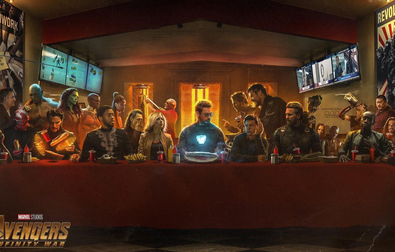Photo wallpaper table, fiction, Scarlett Johansson, Vision, poster, feast, characters, Nebula, Iron Man, comic, Falcon, Captain America, …
