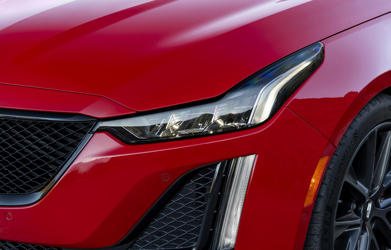 Photo wallpaper red, Cadillac, headlight, the hood, sedan, four-door, 2020, CT5-V
