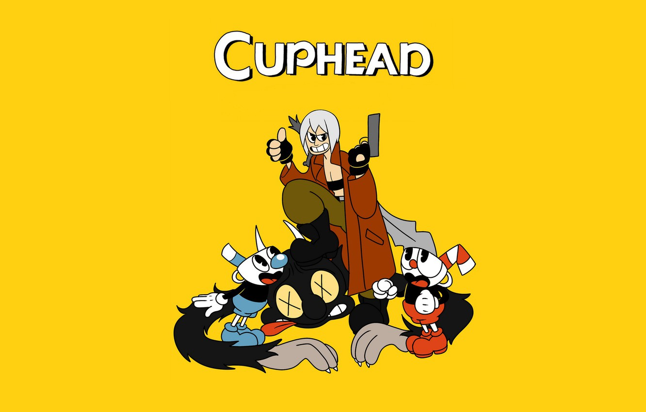 Photo wallpaper Dante, crossover, devil may cry, CASCO-voice brothers, cuphead