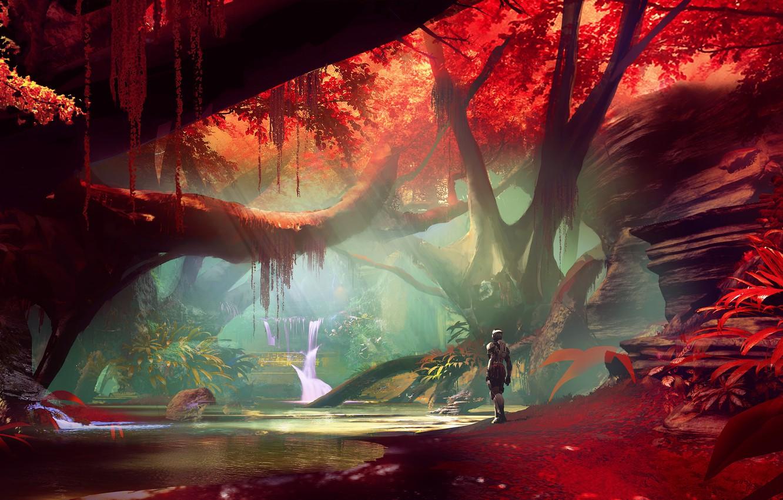 Wallpaper Fantasy Forest River Trees Landscape Water