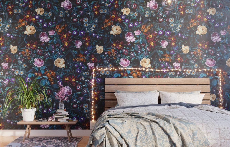 Photo wallpaper design, room, plant, books, bed, interior, pillow, pot, garland, light bulb, table, bedroom