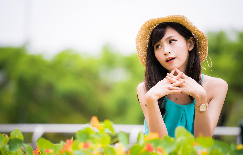 Photo wallpaper girl, hat, Asian, bokeh
