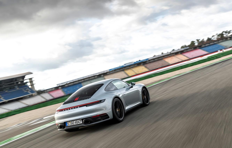 Photo wallpaper coupe, speed, 911, Porsche, back, track, side, Carrera 4S, 992, 2019