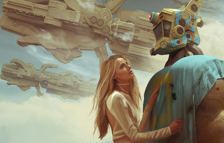 Photo wallpaper girl, robot, Col Price, The Saviors Return, space station