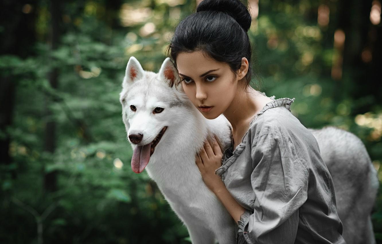 Photo wallpaper look, girl, dog, Anton Nabatchikov, Elena Stern