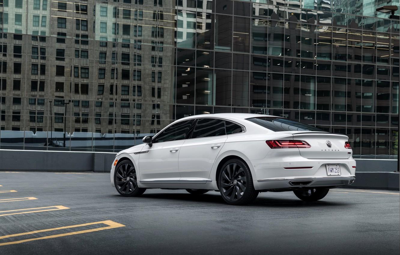 Photo wallpaper white, Volkswagen, rear view, 2018, R-Line, liftback, Arteon, 2019