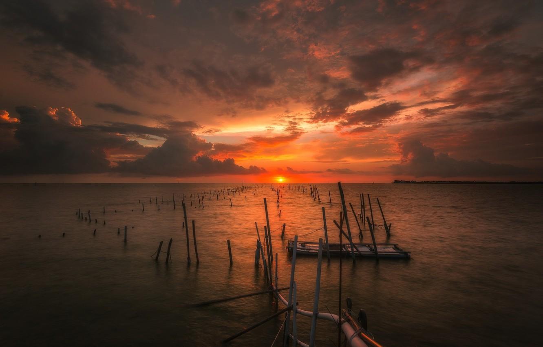 Photo wallpaper sea, sunset, coast