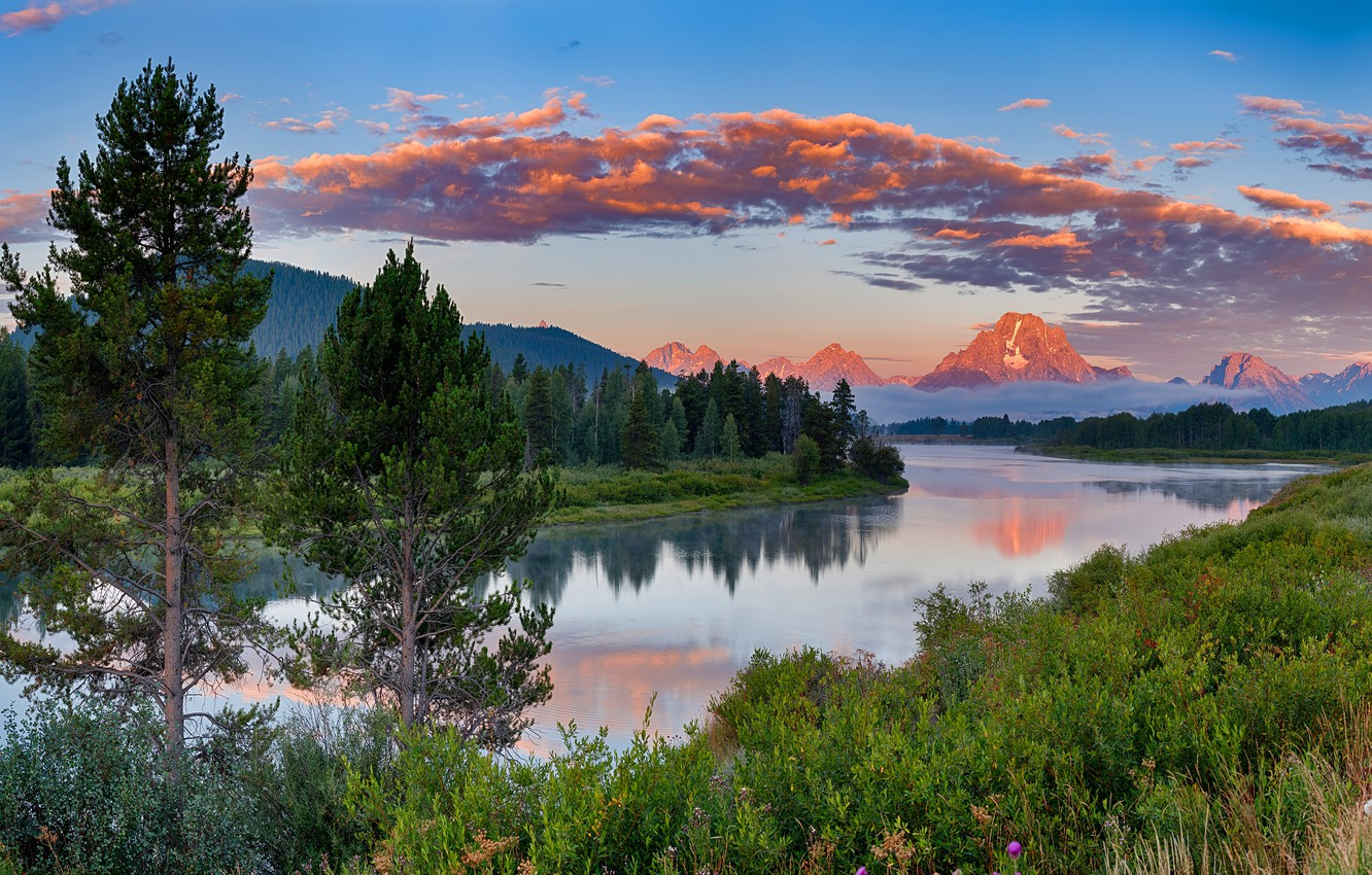 Photo wallpaper forest, grass, clouds, mountains, shore, tops, ate, USA, pond, Grand Teton national Park