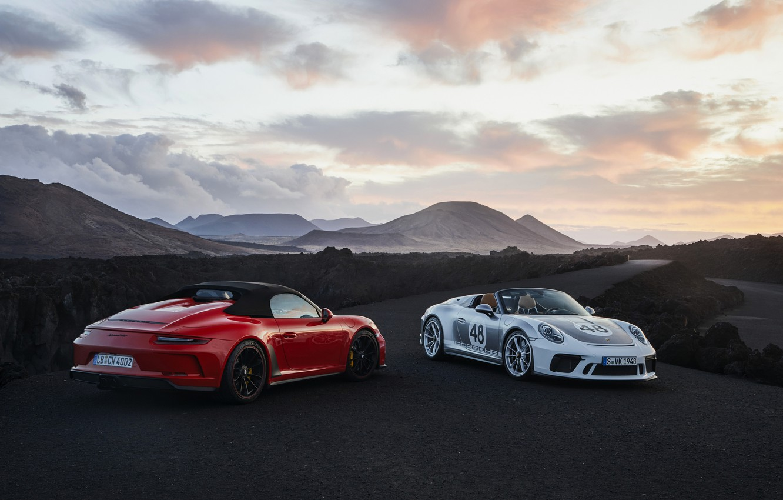 Photo wallpaper red, 911, Porsche, valley, Speedster, 991, 2019, gray-silver, 991.2