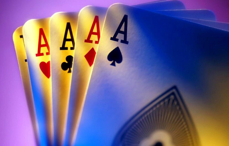 Photo wallpaper card, poker, 4 aces