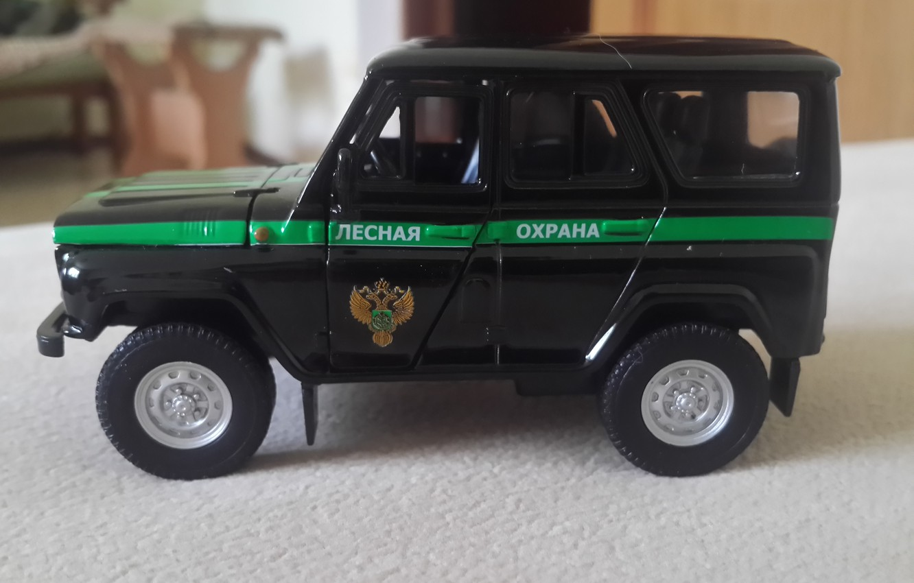 Photo wallpaper UAZ, toy model, forest protection