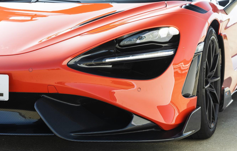 Photo wallpaper McLaren, headlight, the hood, 2020, 765LT