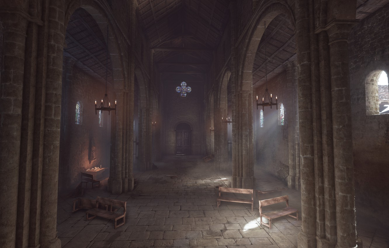 Photo wallpaper Church, columns, a plague tale: innocence