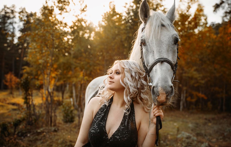 Photo wallpaper autumn, girl, sunset, dress, falling leaves, white horse, solace