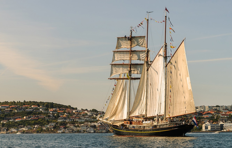 Photo wallpaper sea, ship, sailboat, Norway, sails, schooner, Golden Lion