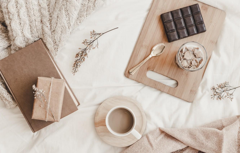 Photo wallpaper coffee, chocolate, Breakfast, milk, Notepad, Milk, Chocolate, Notebook