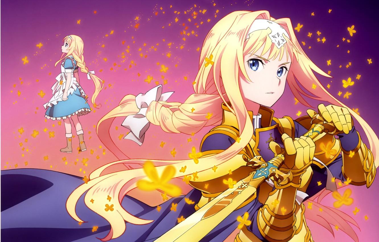 Photo wallpaper sword, long hair, blue dress, SAO, Sword art Online, armor, Alice Schuberg, Sword Art Online …